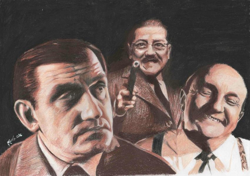 Bernard Blier, Francis Blanche, Lino Ventura by metaldrawings